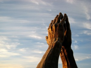 Put your hands together and present your petition to God.