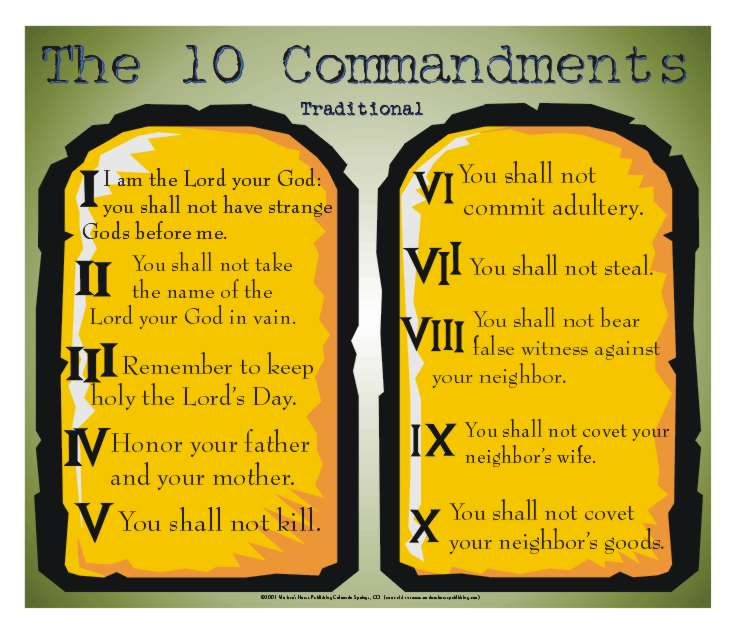 10 commandment Ten commandments: ten commandments, list of religious precepts that, according to various passages in exodus and deuteronomy, were divinely revealed to moses on mt sinai and were engraved.