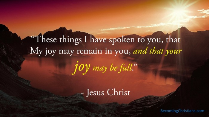 These things I have spoken to you, that My joy may remain in you, and that your joy may be full.