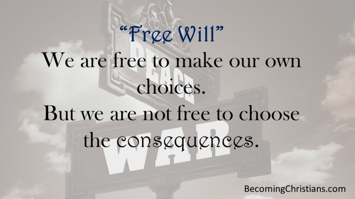 We are free to make our own choices. But we are not free to choose the consequences.