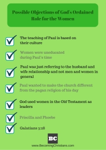 Possible Objections of God's Ordained Role for the Women