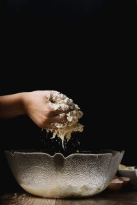 Dough, bowl, hand, baking