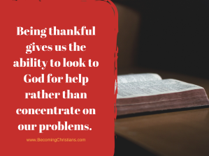 It gives us the ability to look into God for help rather than concentrate on our problems which makes us anxious.