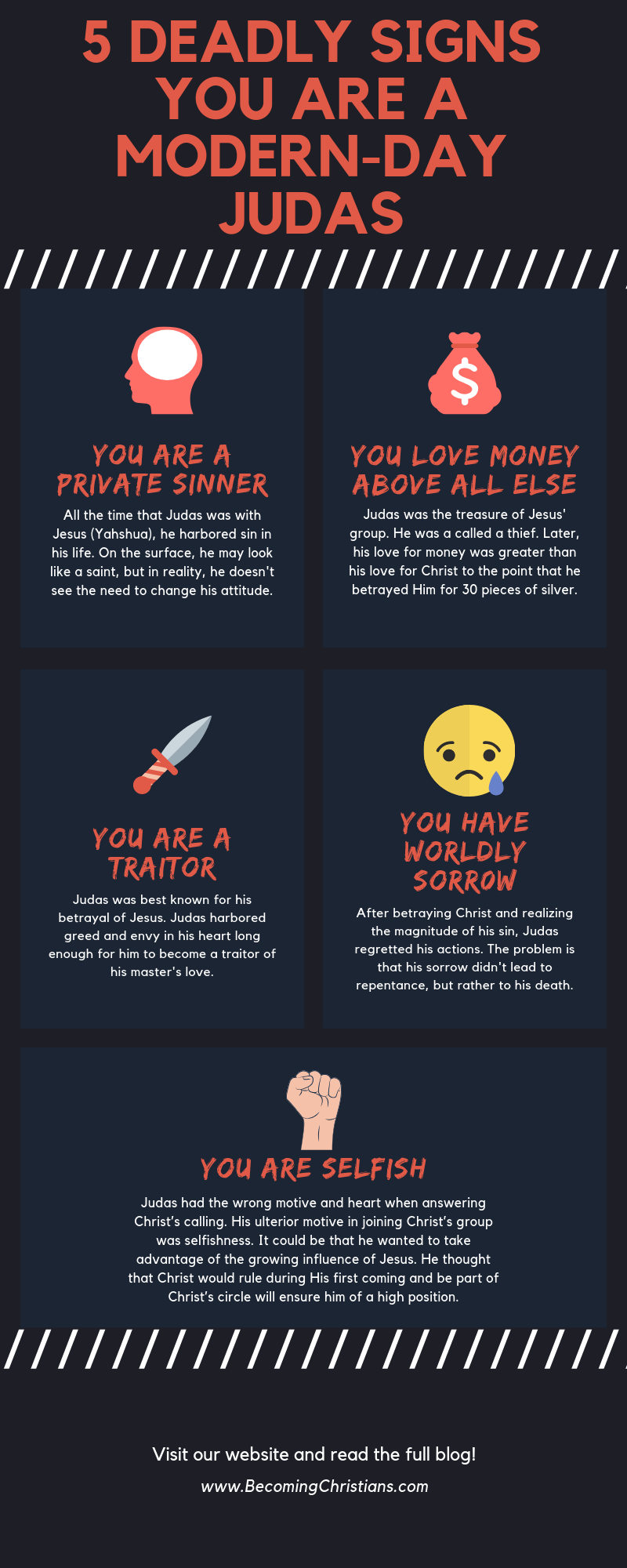 5 Deadly Signs you are a modern day Judas (infographics)