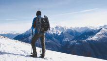 man climbing climb snow mountain sky