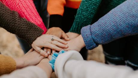 Hands team cooperation unity