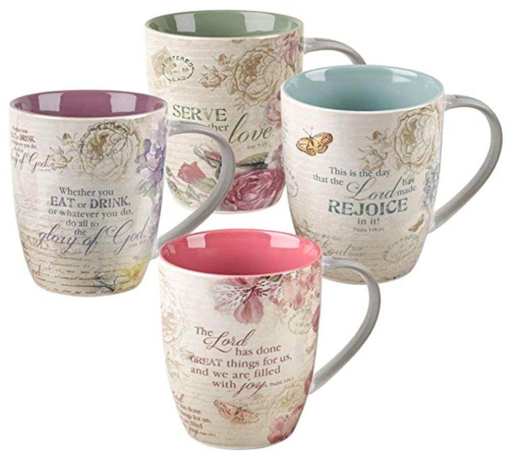 Christian Art Gifts Ceramic Coffee/Tea Mug Set for Women | Vintage Botanic Floral Inspirations Design Bible Verse Mug Set | Boxed Set/4 Coffee Cups