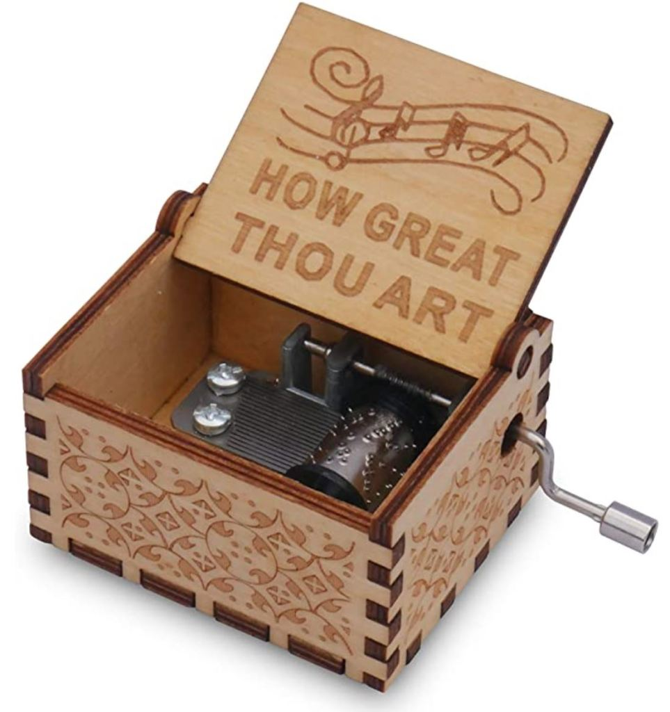 epiphaneia Small How Great Thou Art Wood Music Box Gifts for Christian Women Men Religious Wooden Music Boxes Presents: Women, Men, Mom, Dad, Easter, Christmas, Birthday, Baptism, Christening Gift