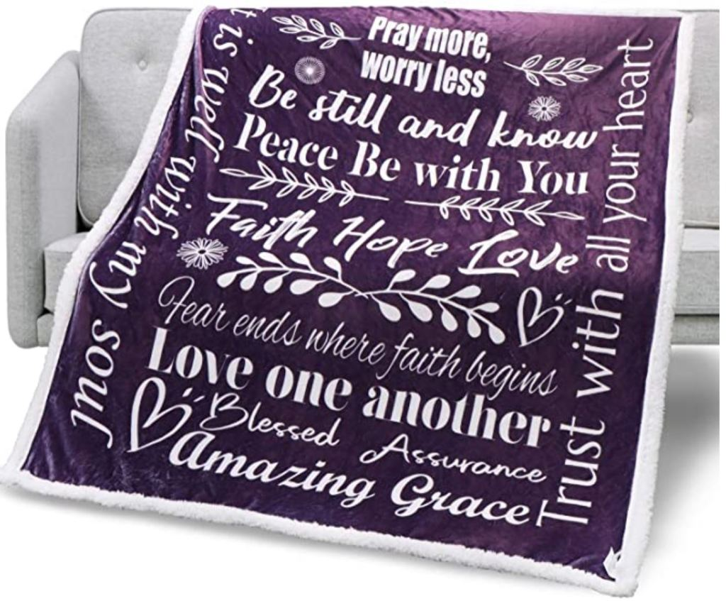 Sherpa Throw Blanket gift for ladies Faith Hope Love Inspirational Message Gift Sherpa Throw Blanket - Positive Energy Love Comfort Caring Soft Thoughtful Uplifting Healing Gift for Best Friend Women Men Blanket (Purple, Sherpa Fleece)