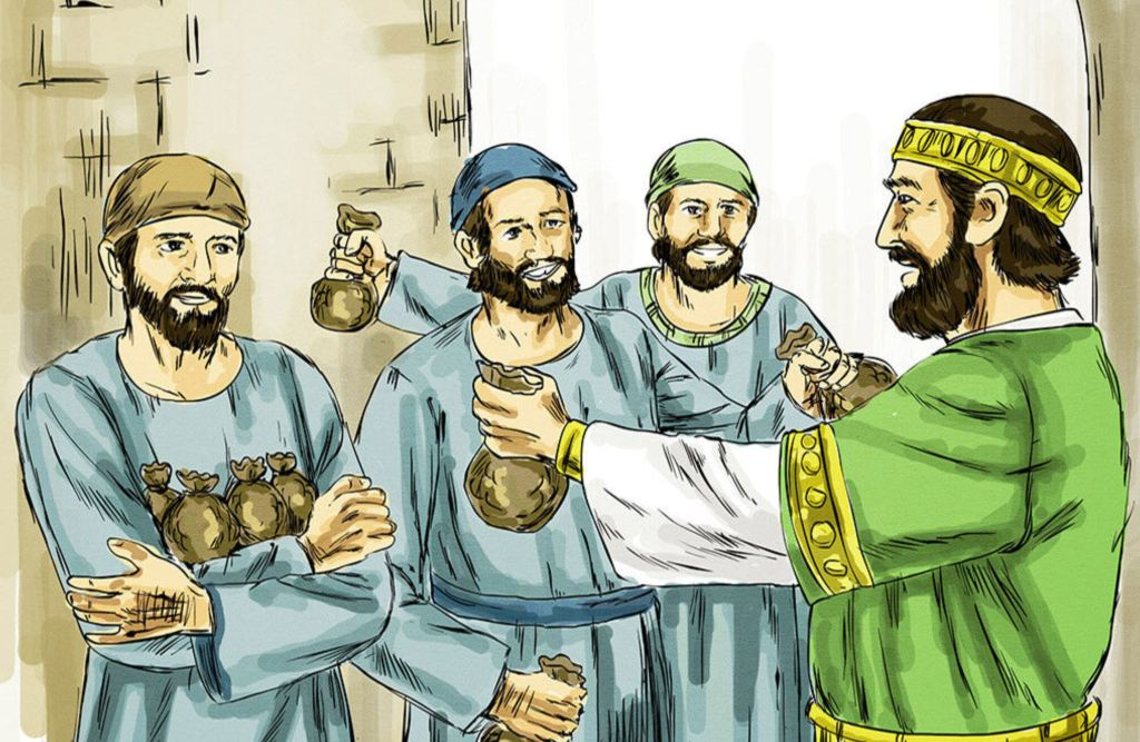 Parable of the talents: the master giving talents to his servants